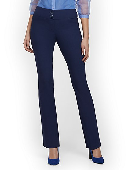 High-Waisted Pull-On Slimming Straight-Leg Pant - 7th Avenue - New York & Company