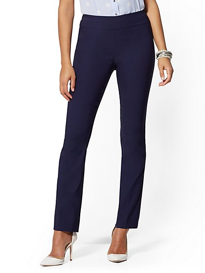 High-Waisted Pull-On Straight-Leg Pant - Signature - 7th Avenue - New York & Company