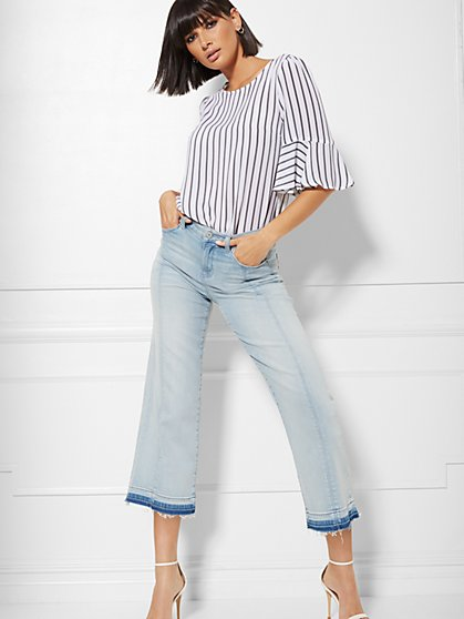 High-Waisted Released-Hem Crop Wide-Leg Jeans - Blue Ice - New York & Company