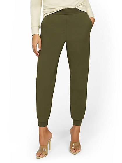 High-Waisted Rib-Trim Jogger Pant - Everywhere Jogger Collection - New York & Company