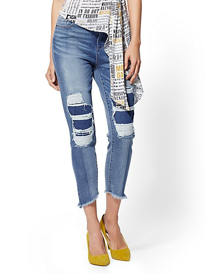 High-Waisted Rip & Repair Boyfriend Jeans - New York & Company