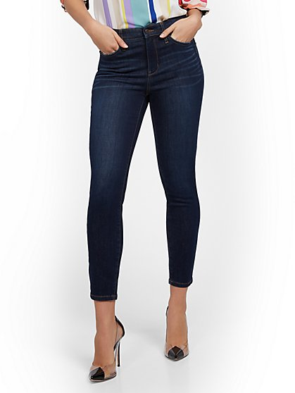 High-Waisted Sculpting No Gap Super-Skinny Ankle Jeans - Dark Blue - New York & Company