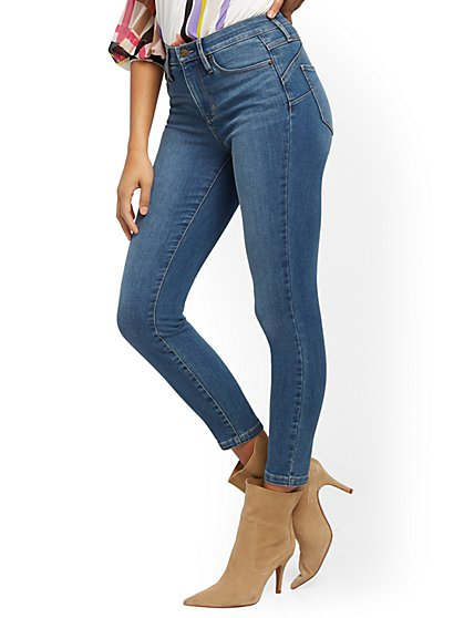 High-Waisted Sculpting No Gap Super-Skinny Ankle Jeans - Medium Blue - New York & Company