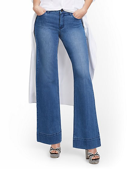 High-Waisted Seamed Hem Wide-Leg Jeans - New York & Company