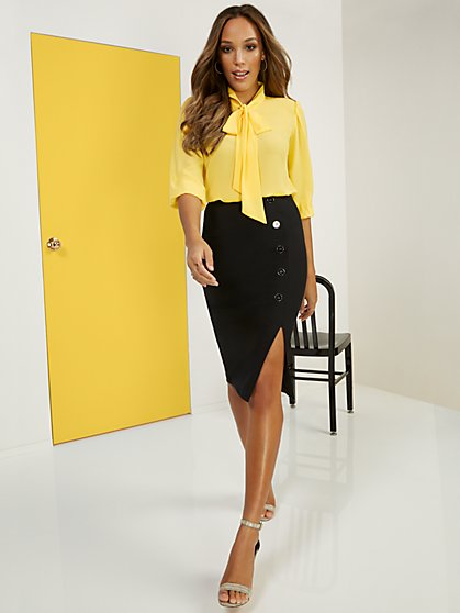High-Waisted Side Button Pencil Skirt - Superflex - New York & Company