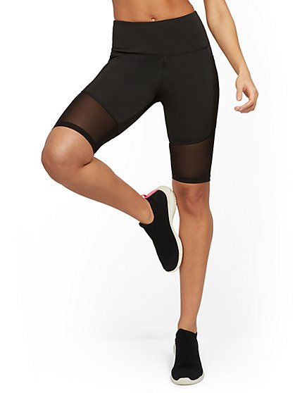 High-Waisted Side-Pocket Mesh Bike Short - New York & Company
