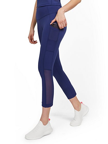 High-Waisted Side-Pocket Mesh Capri Legging - Twilight Blue - New York & Company