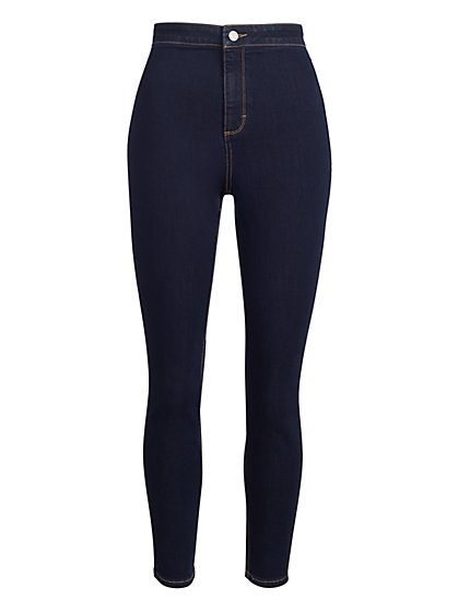 High-Waisted Skinny Jeans - Dark Blue - New York & Company