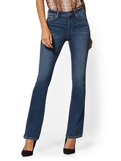 High-Waisted Slim Bootcut Jeans - Blue Oasis - New York & Company