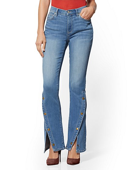 High-Waisted Snap-Closure Barely Bootcut Jeans - Garden Blue - New York & Company