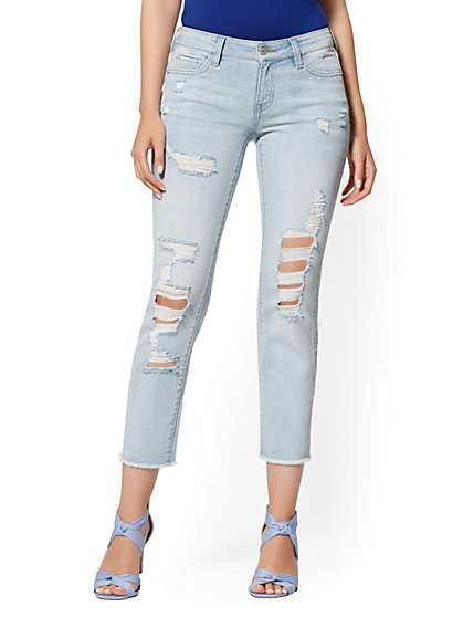 High-Waisted Straight-Leg Jeans - Indigo Blue - New York & Company