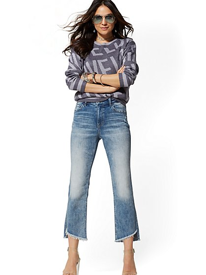 High-Waisted Straight-Leg Jeans - Indigo - New York & Company