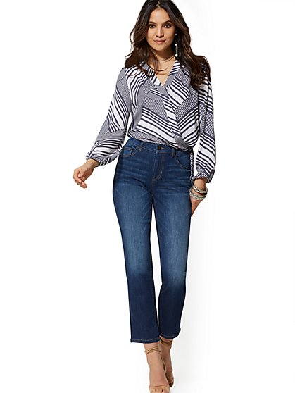 High-Waisted Straight Leg Jeans - Indigo - New York & Company