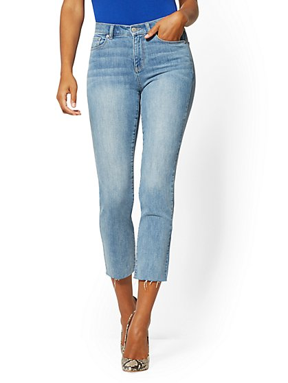 High-Waisted Straight-Leg Jeans - Lavish Blue - New York & Company