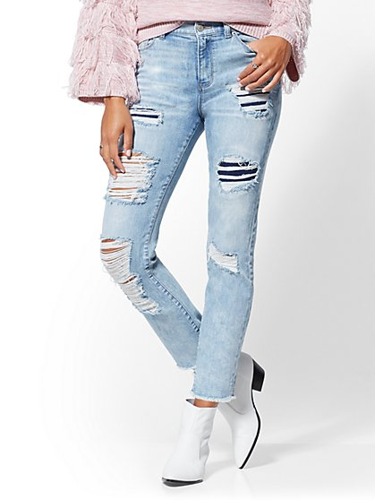 High-Waisted Straight Leg Jeans - Tribeca Blue - New York & Company