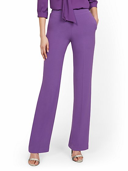 High-Waisted Straight-Leg Pull-On Pant - New York & Company