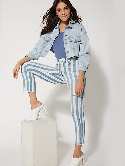 High-Waisted Stripe Straight Leg Jeans - Indigo - New York & Company