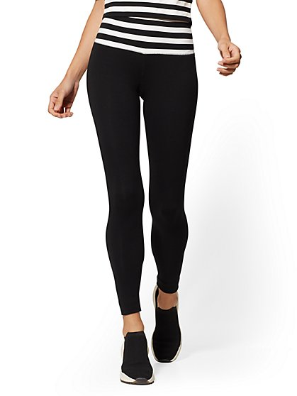 High-Waisted Stripe Yoga Legging - New York & Company