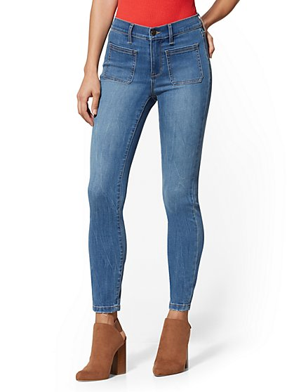 High-Waisted Super-Skinny Ankle Jeans - Medium Blue - New York & Company