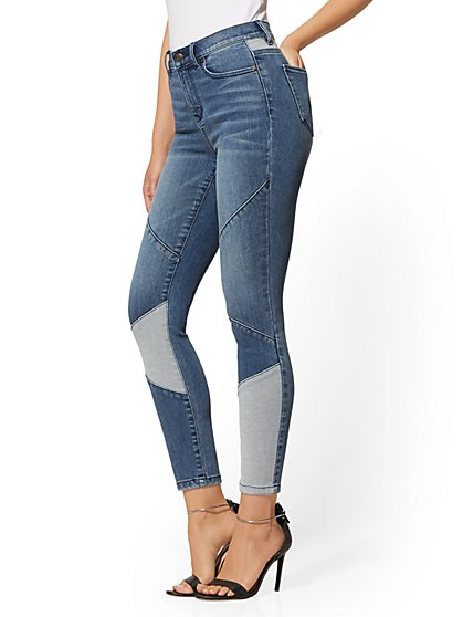 High-Waisted Super-Skinny Ankle Jeans - Patchwork - New York & Company