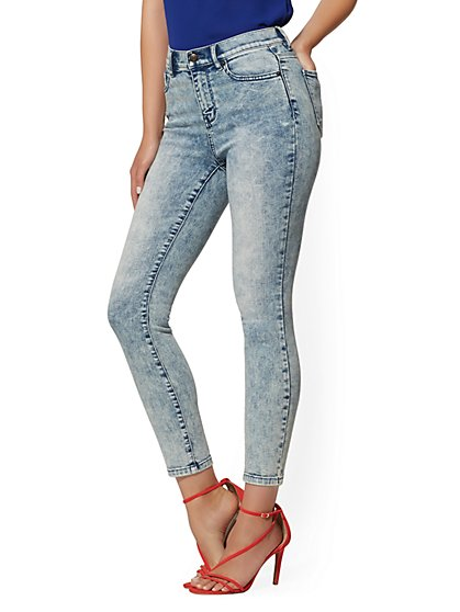 High-Waisted Super-Skinny Ankle Jeans - Weekend Blue - New York & Company