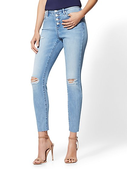 High-Waisted Super-Skinny Ankle Jeans - New York & Company