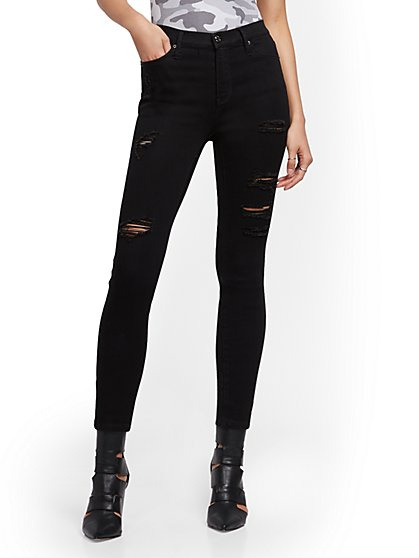High-Waisted Super-Skinny Ankle Legging - Black - New York & Company