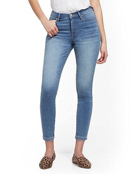 High-Waisted Super-Skinny Ankle Legging - Blue Splash - New York & Company