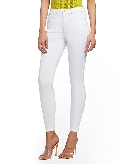 High-Waisted Super-Skinny Ankle Legging - White - New York & Company