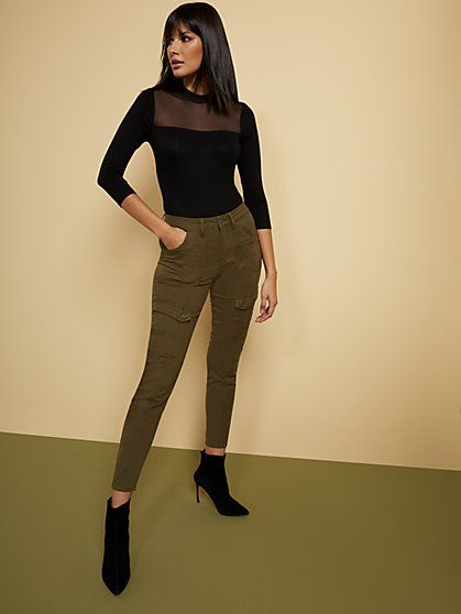 High-Waisted Super-Skinny Cargo Jeans - Olive - New York & Company