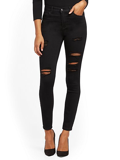 High-Waisted Super-Skinny Jeans - Black - New York & Company
