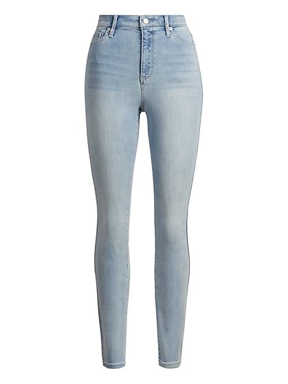 High-Waisted Super-Skinny Jeans - Blue Spark - New York & Company