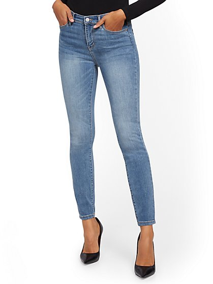 High-Waisted Super-Skinny Jeans - Blue Splash - New York & Company