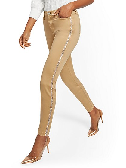 High-Waisted Super-Skinny Jeans - Camel - New York & Company