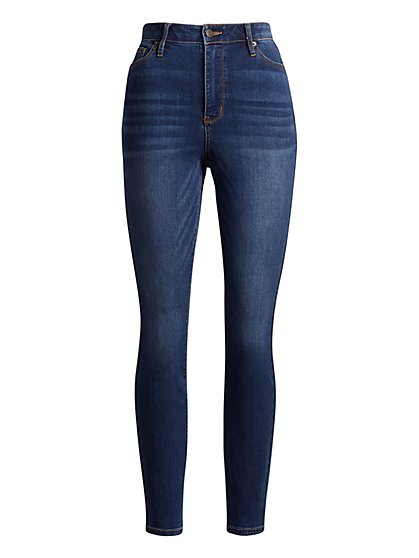High-Waisted Super-Skinny Jeans - Foxy Blue - New York & Company