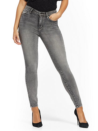 High-Waisted Super-Skinny Jeans - Grey - New York & Company