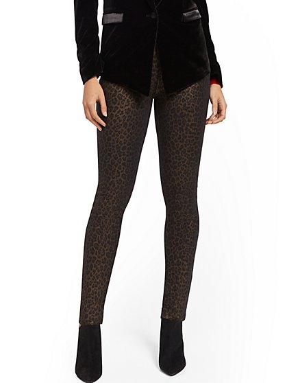 High-Waisted Super-Skinny Jeans - Metallic Leopard - New York & Company