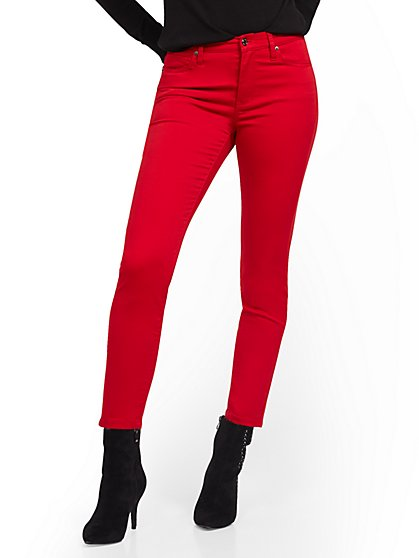 High-Waisted Super-Skinny Jeans - Red - New York & Company