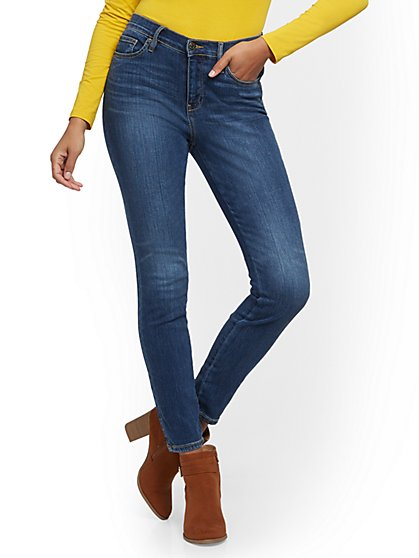 High-Waisted Super-Skinny Jeans - Star Blue - New York & Company