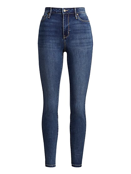 High-Waisted Super-Skinny Jeans - Vintage Blue - New York & Company