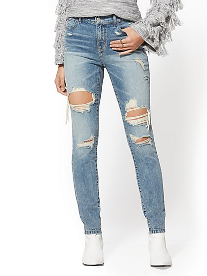 High-Waisted Super-Skinny Jeans - Wave Blue - New York & Company