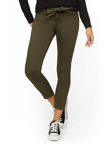 High-Waisted Tie-Front Skinny Ankle Jeans - Woodland Green - New York & Company