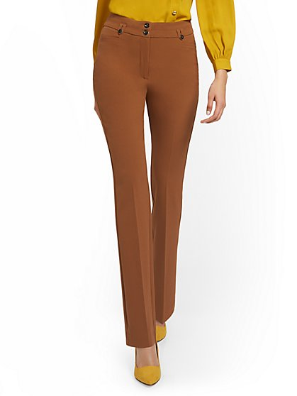 High-Waisted Two-Button Straight-Leg Pant - Double Stretch - New York & Company