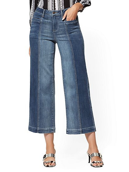 High-Waisted Wide Leg Jeans - Blue Love - New York & Company