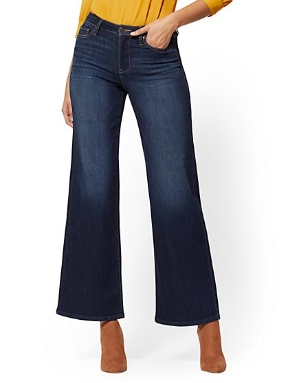 High-Waisted Wide-Leg Jeans - Midnight Blue - New York & Company