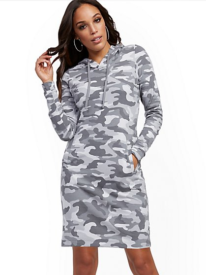 Hooded Camo Sweatshirt Dress - New York & Company