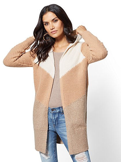 Hooded Colorblock Duster Cardigan - New York & Company