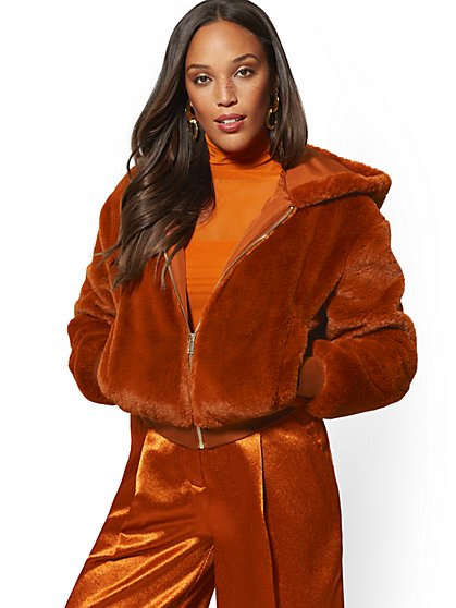 Hooded Faux-Fur Bomber Jacket - New York & Company