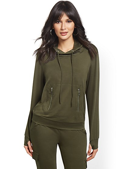 Hooded Green Sweatshirt & Mask - New York & Company
