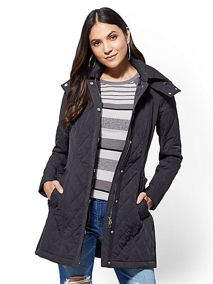 Hooded Quilted Jacket - New York & Company